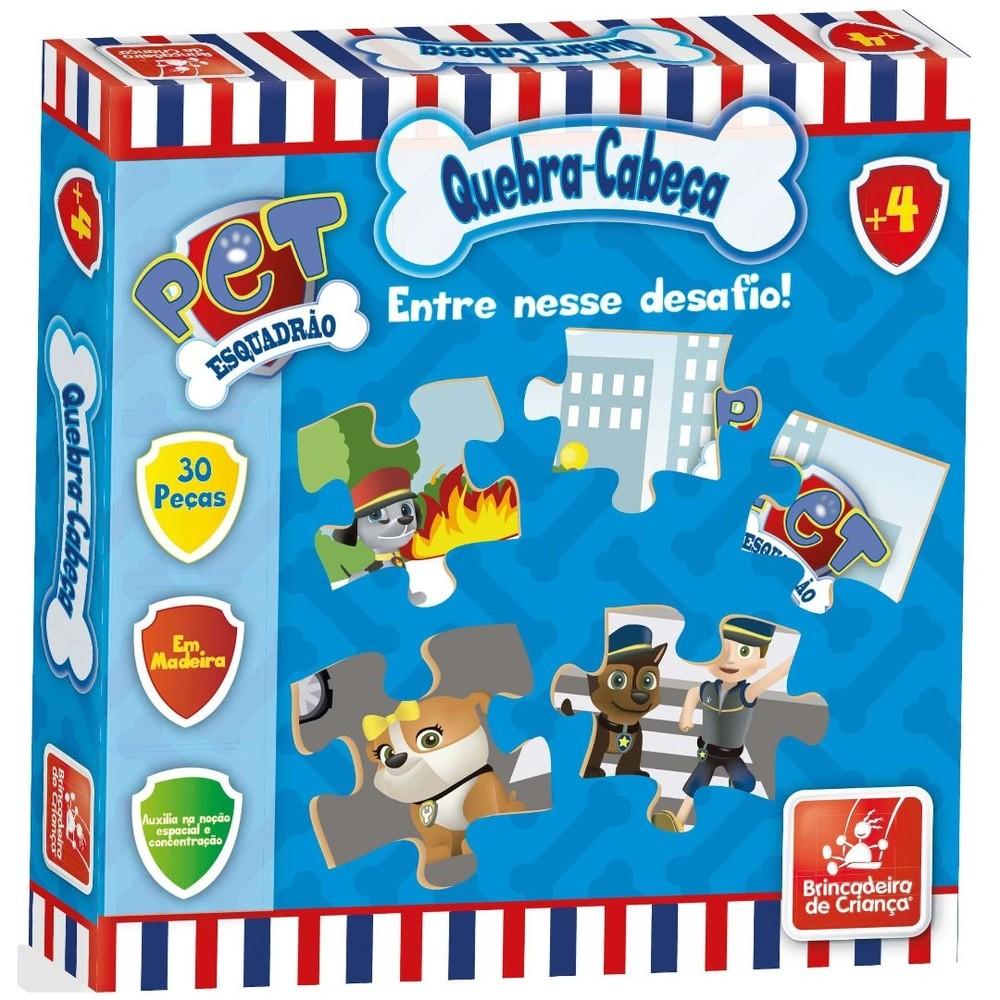 Quebra-Cabeça Esquadrão Pet - 30 peças em Madeira - Brincadeira de Criança