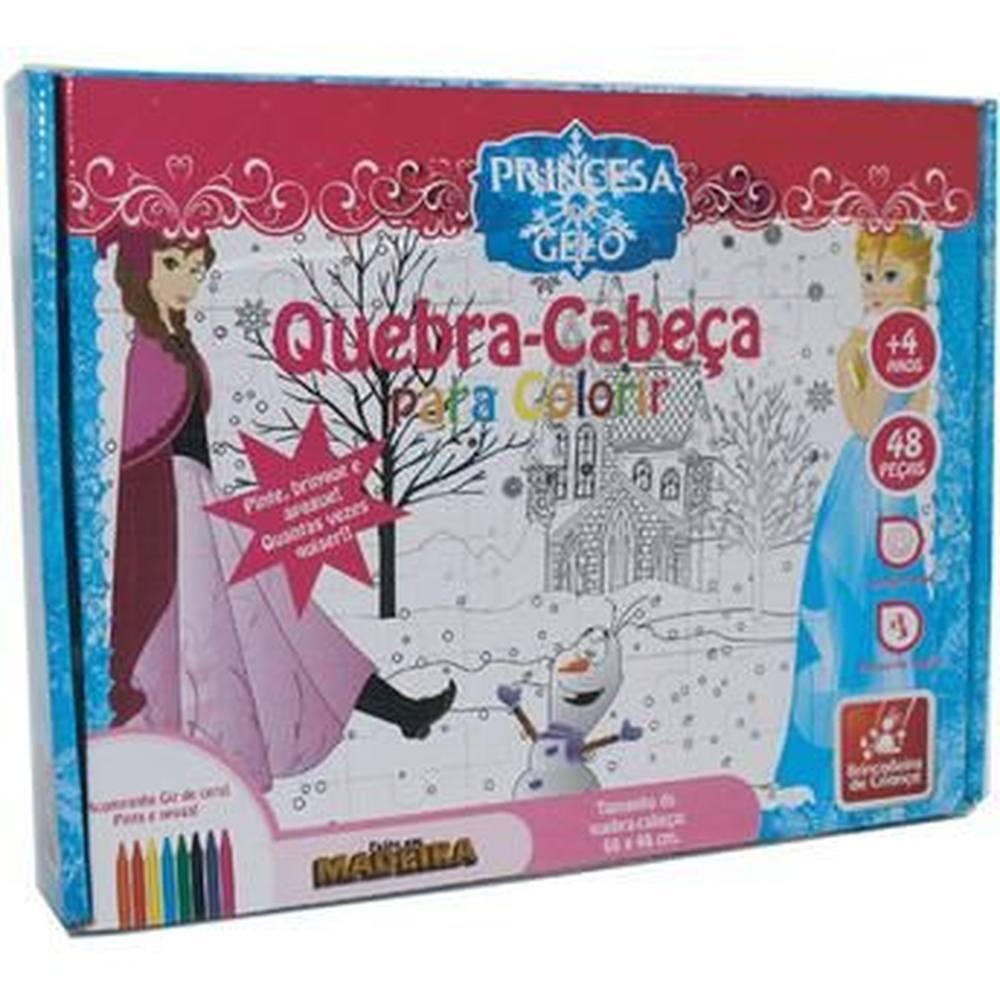 Quebra-cabeça Gigante Para Colorir Princesa Do Gelo Em Madeira Reflorestada