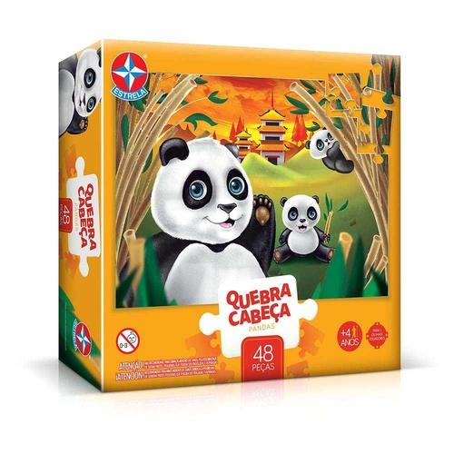 Quebra-Cabeça Pandas - Estrela - 48 peças