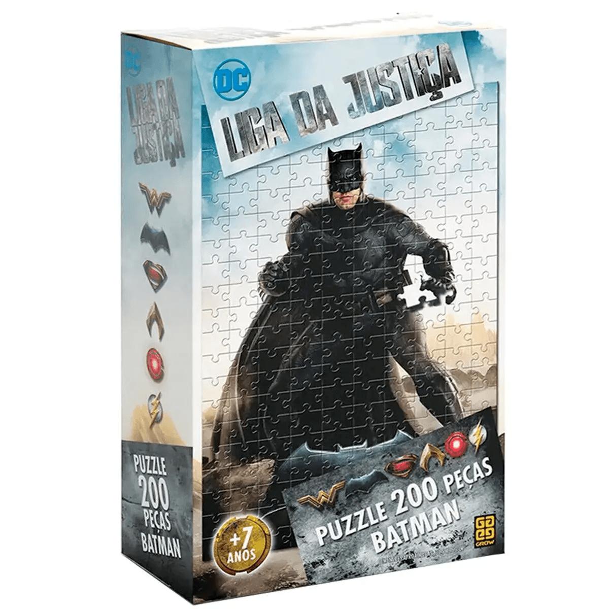 Quebra Cabeça Puzzle Batman Liga da Justiça 200 Peças Grow
