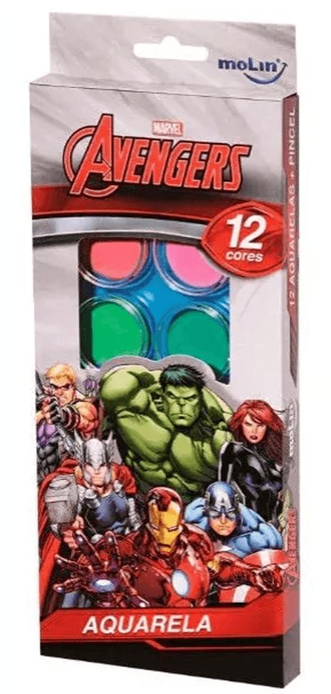 Tinta Aquarela Estojo Avengers Vingadores com 12 cores e Pincel Molin do Brasil