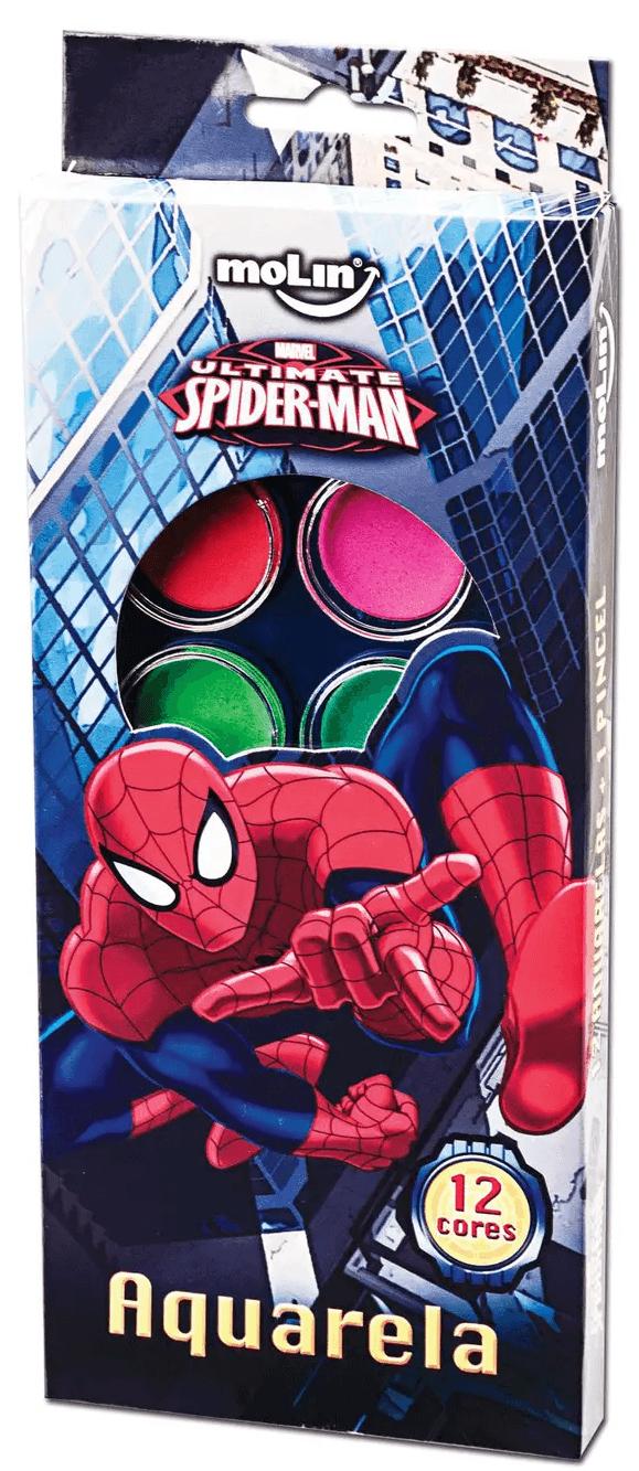 Tinta Aquarela Estojo Spider Man com 12 cores e Pincel Molin do Brasil