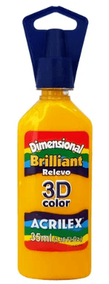 Tinta Dimensional 3D Brilliant 35ml Amarelo Acrilex