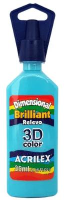 Tinta Dimensional 3D Brilliant 35ml Azul Turquesa Acrilex