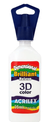 Tinta Dimensional 3D Brilliant 35ml Branco Acrilex