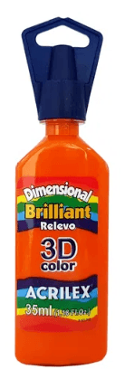 Tinta Dimensional 3D Brilliant 35ml Laranja Acrilex