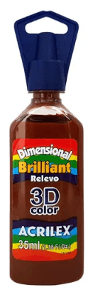 Tinta Dimensional 3D Brilliant 35ml Marrom Acrilex