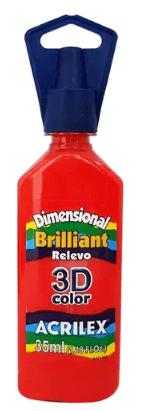Tinta Dimensional 3D Brilliant 35ml Vermelho Acrilex