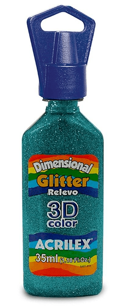Tinta Dimensional Glitter 3D Relevo 35ml Azul Turquesa Acrilex