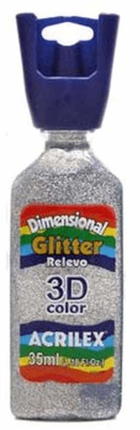 Tinta Dimensional Glitter 3D Relevo 35ml Prata Acrilex