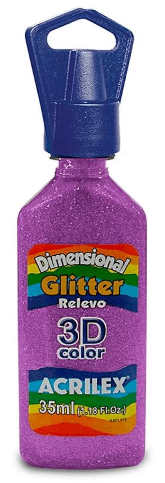 Tinta Dimensional Glitter 3D Relevo 35ml Roxo Acrilex