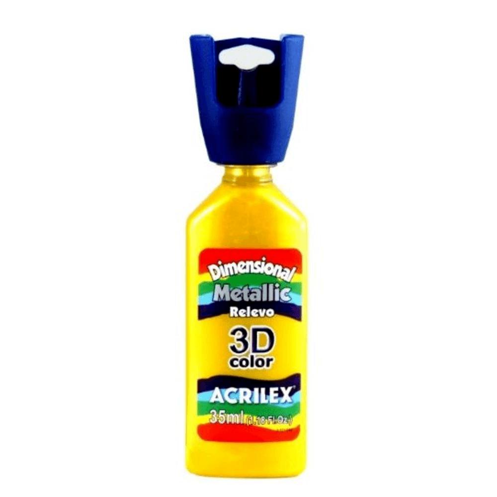 Tinta Dimensional Metallic 3D Relevo 35ml Amarelo Acrilex