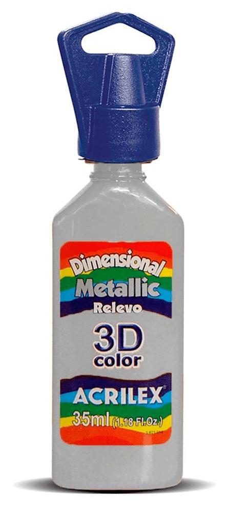 Tinta Dimensional Metallic 3D Relevo 35ml Prata  Acrilex