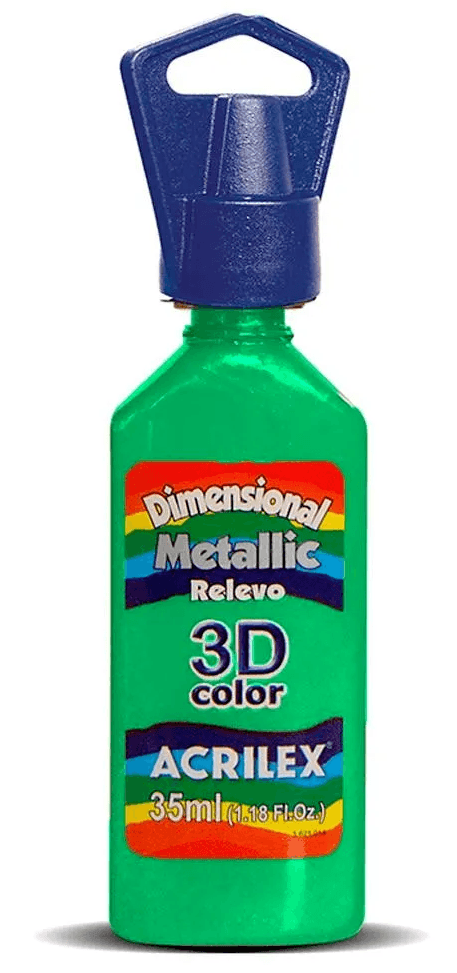 Tinta Dimensional Metallic 3D Relevo 35ml Verde Acrilex