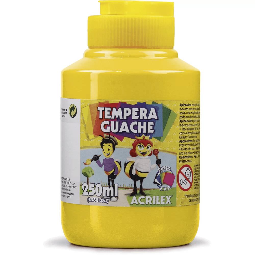 Tinta guache 250 ml amarelo Acrilex PO 1 UN