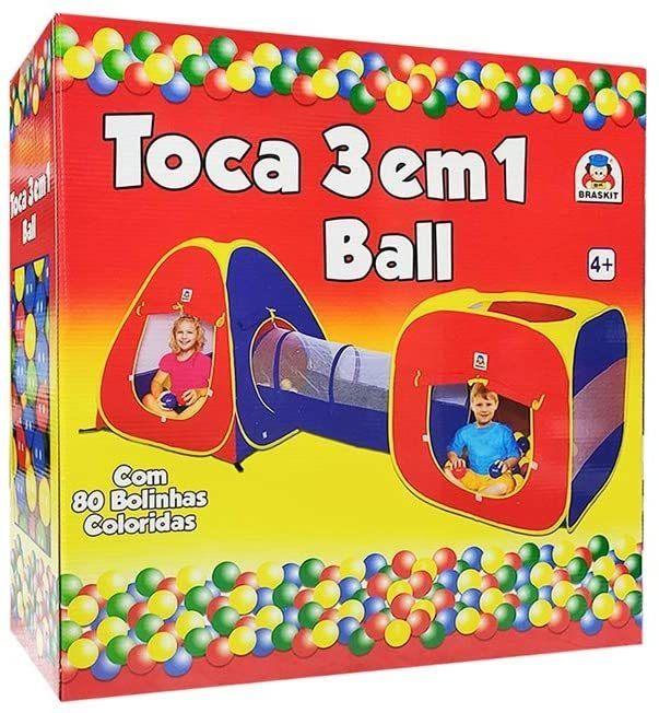 Toca 3 em 1 Ball 80 bolinhas - Braskit