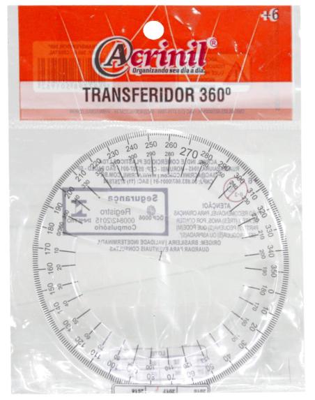 Transferidor plástico 360º Graus - Acrinil