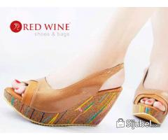 SANDAL WEDGES WANITA IMPORT RED WINE BK230 HIGH QLTY