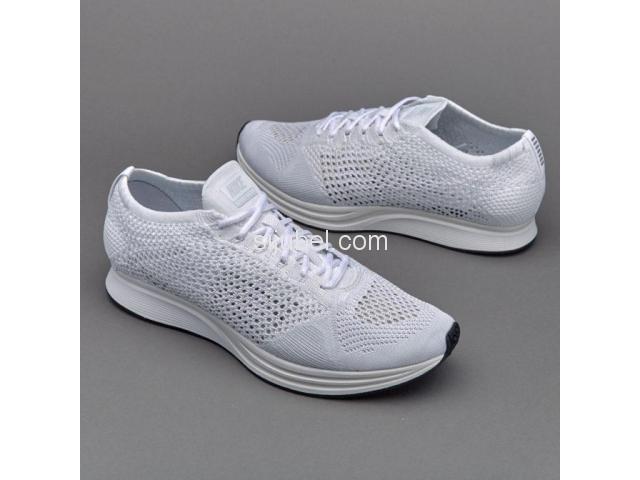 Sepatu Nike Flyknit Racer White Sail Pure Platinum - 1/2