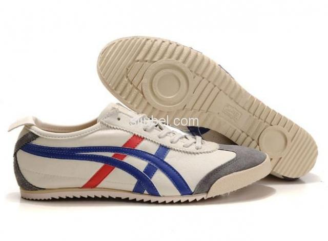 Sepatu Asics onitsuka Tiger Mexico 66 Deluxe Beige Blue Red - 1/3