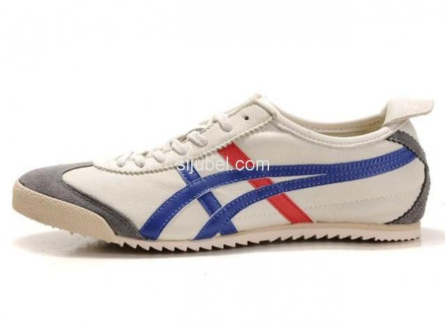 Sepatu Asics onitsuka Tiger Mexico 66 Deluxe Beige Blue Red - 2/3
