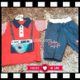 baju setelan kerah camera baby boy anak laki-laki baju murah grosir