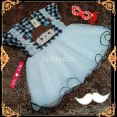 dress tile baby motif kotak-kotak hitam dress anak lucu grosir