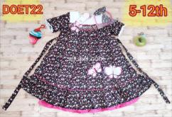 Dress baju anak motif flower bonus bando kupu-kupu bordir & renda Ok