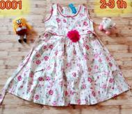 Dress anak kids too motif flower pink putih katun halus branded