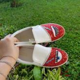 chiara fergani merah sepatu slip on wanita import
