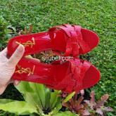 sandal heels merah on sale import