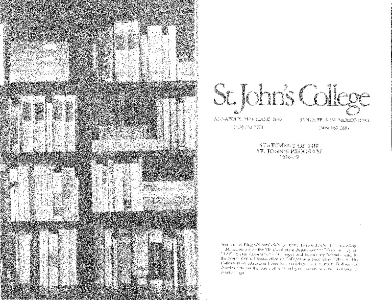Statement of the St. John's Program 1978-79