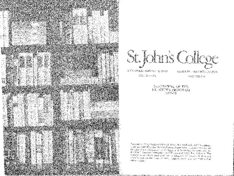 Statement of the St. John's Program 1977-78