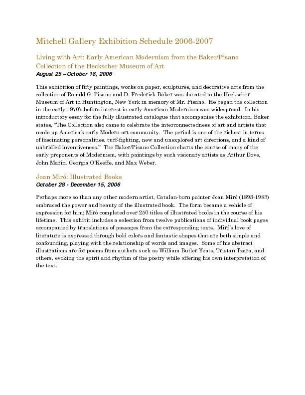 Mitchell Gallery Exhibition Schedule 2006-2007.pdf