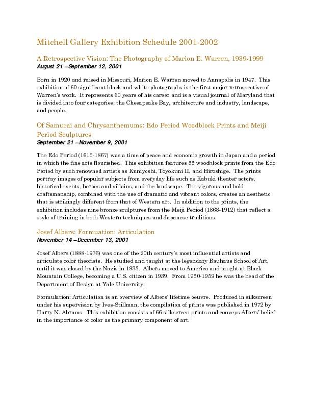 Mitchell Gallery Exhibition Schedule 2001-2002.pdf