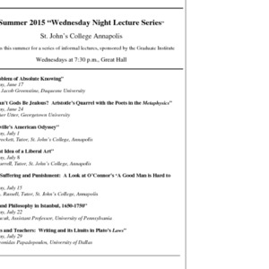 "Summer 2015 ""Wednesday Night Lecture Series"""