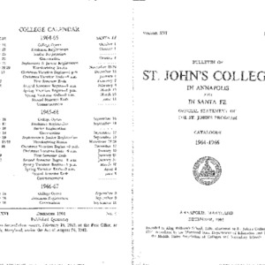 Bulletin of St. John's College in Annapolis and Santa Fe: Official Statement of the St. John's Program, Catalogue 1964-1966