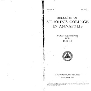 Bulletin of St. John's College in Annapolis:  Announcements for 1934-35