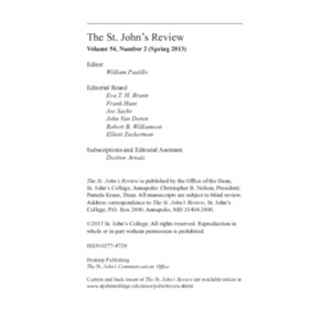 The St. John's Review, Spring 2013