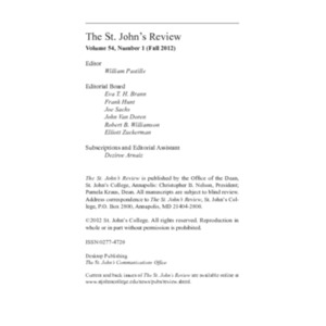 The St. John's Review, Fall 2012