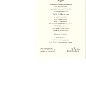 Invitation for the Inauguration of President John E. Balcom