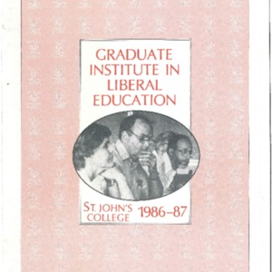 Graduate Institute in Liberal Education, St. John's College 1986-87