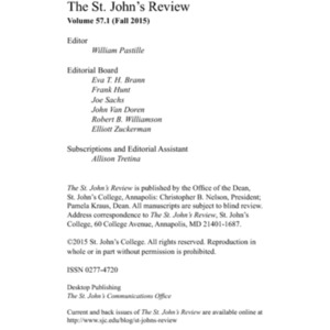 The St. John's Review, Fall 2015
