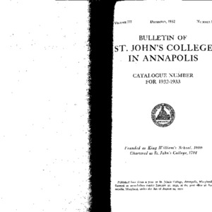 Bulletin of St. John's College in Annapolis:  Catalogue Number for 1932-1933