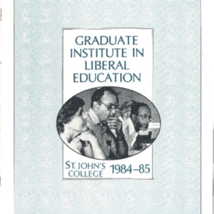 Graduate Institute in Liberal Education, St. John's College 1984-85