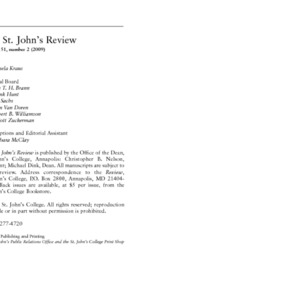 The St. John's Review, 2009/2