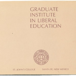 Graduate Institute in Liberal Education, St. John's College Santa Fe, New Mexico 1976