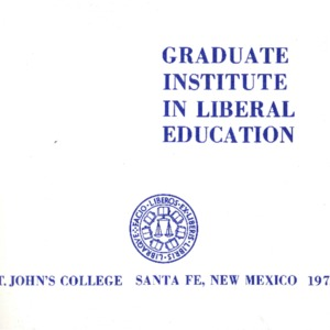 Graduate Institute in Liberal Education, St. John's College Santa Fe, New Mexico 1972