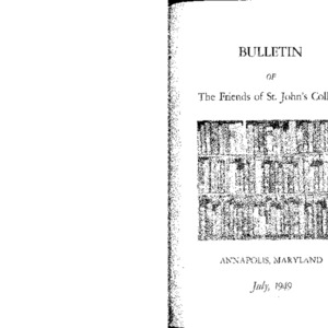 Bulletin of the Friends of St. John's College, July 1949