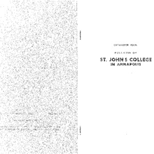Catalogue Issue: Bulletin of St. John's College in Annapolis; Official Statement of the St. John's Program, Catalogue 1951